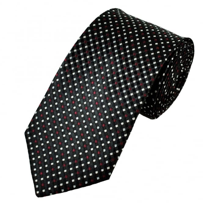 Black, Burgundy, Silver & Ivory Micro Checked Patterned Men's Tie