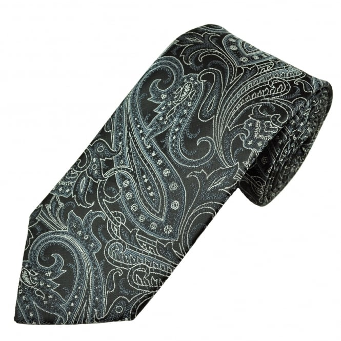 Black, Charcoal Grey & Silver Patterned Men's Tie