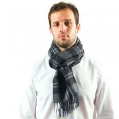 Black Check Patterned 100% Wool Scarf
