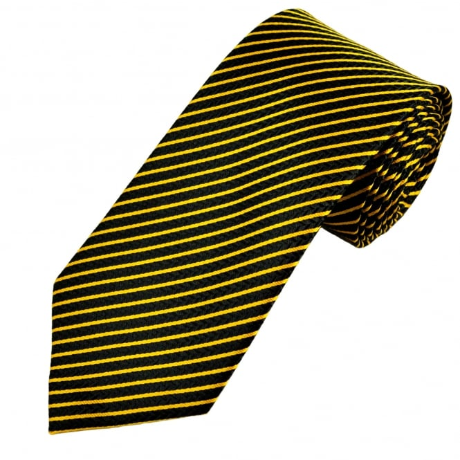 Black Chevron & Gold Striped Men's Tie