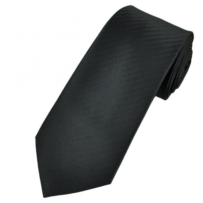 Black Chevron Patterned Men's Tie