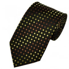 Black, Chocolate Brown & Gold Polka Dot Extra Long Tie