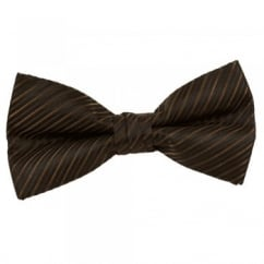 Black, Chocolate Brown & Rusty Brown Striped Bow Tie