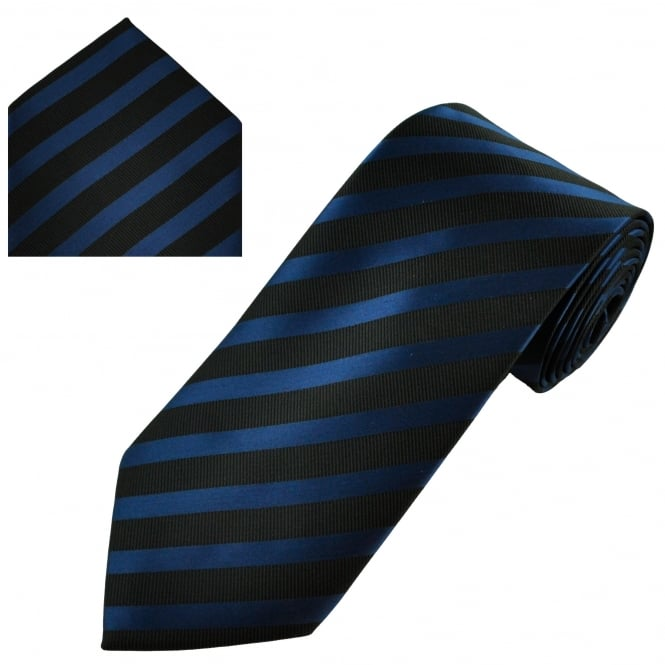 black and dark blue striped tie and hanky set
