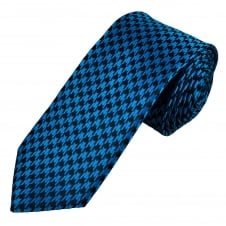 Black & Electric Blue Houndstooth Patterned Narrow Men's Tie