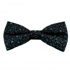 Black Floral Pattern Cotton Men's Bow Tie