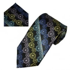 Black Floral Pattern Men's Silk Tie & Pocket Square Set