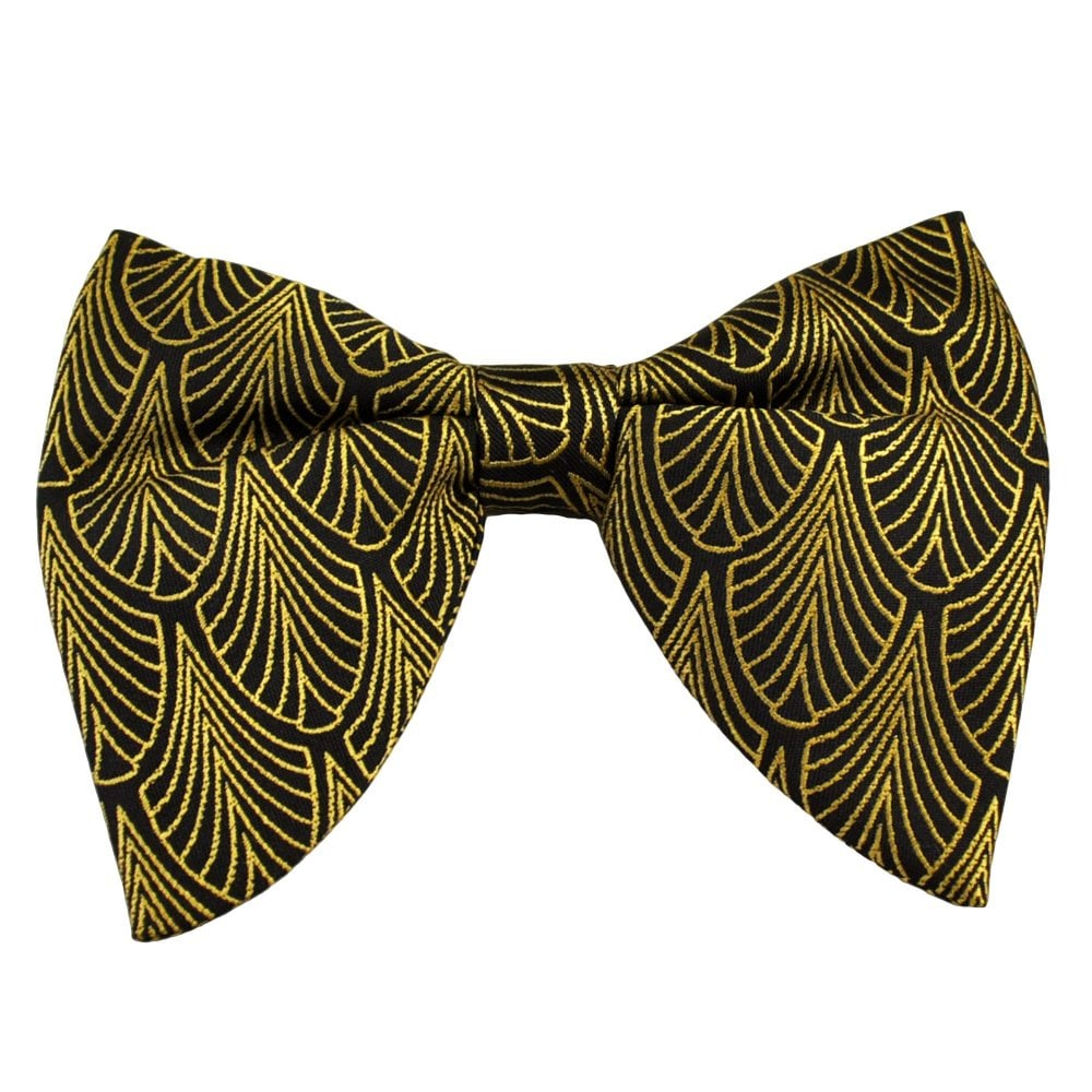 86792710db5b Black & Gold Art Deco Patterned Big Butterfly Men's Bow Tie from Ties  Planet UK