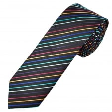Black, Gold, Pink, Purple & Shades of Blue Striped Men's Skinny Tie