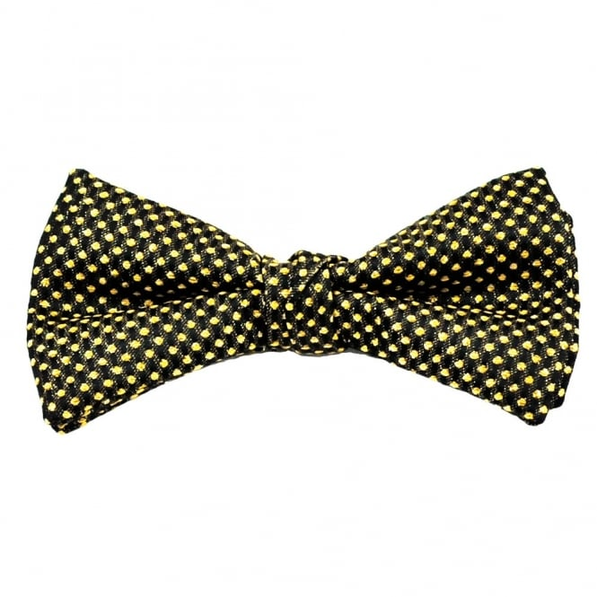 Black & Gold Polka Dot Silk Bow Tie