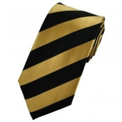 Black & Gold Striped Silk Tie