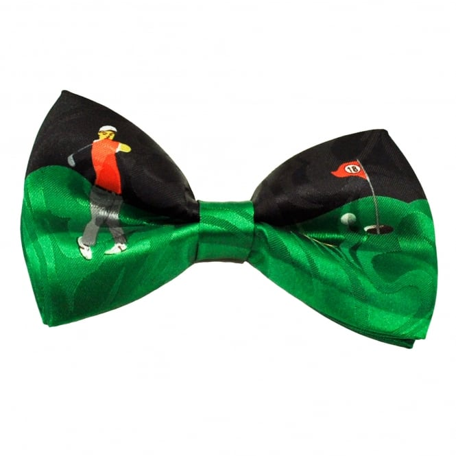 Black & Green Golf Novelty Bow Tie