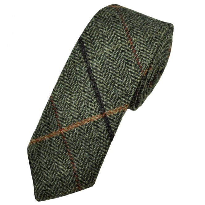 Black & Green Large Checked Herringbone Tweed Wool Tie