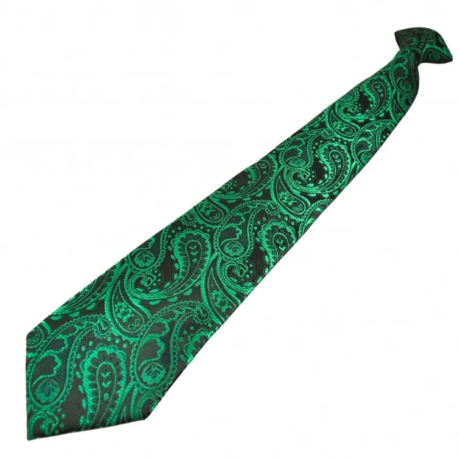 Black & Green Paisley Patterned Men's Clip On Tie