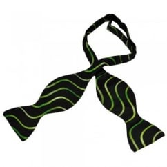 Black & Green Swirl Patterned Self Tie Bow Tie