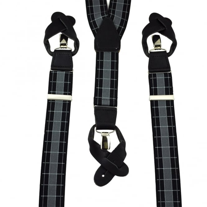 Black & Grey Check with Black Leather End Trouser Braces