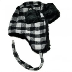 Black & Grey Checked with Black Faux Fur Trapper Hat
