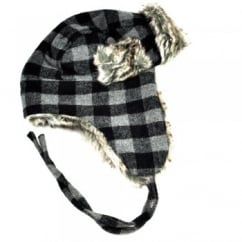 Black & Grey Checked with Brown Faux Fur Trapper Hat