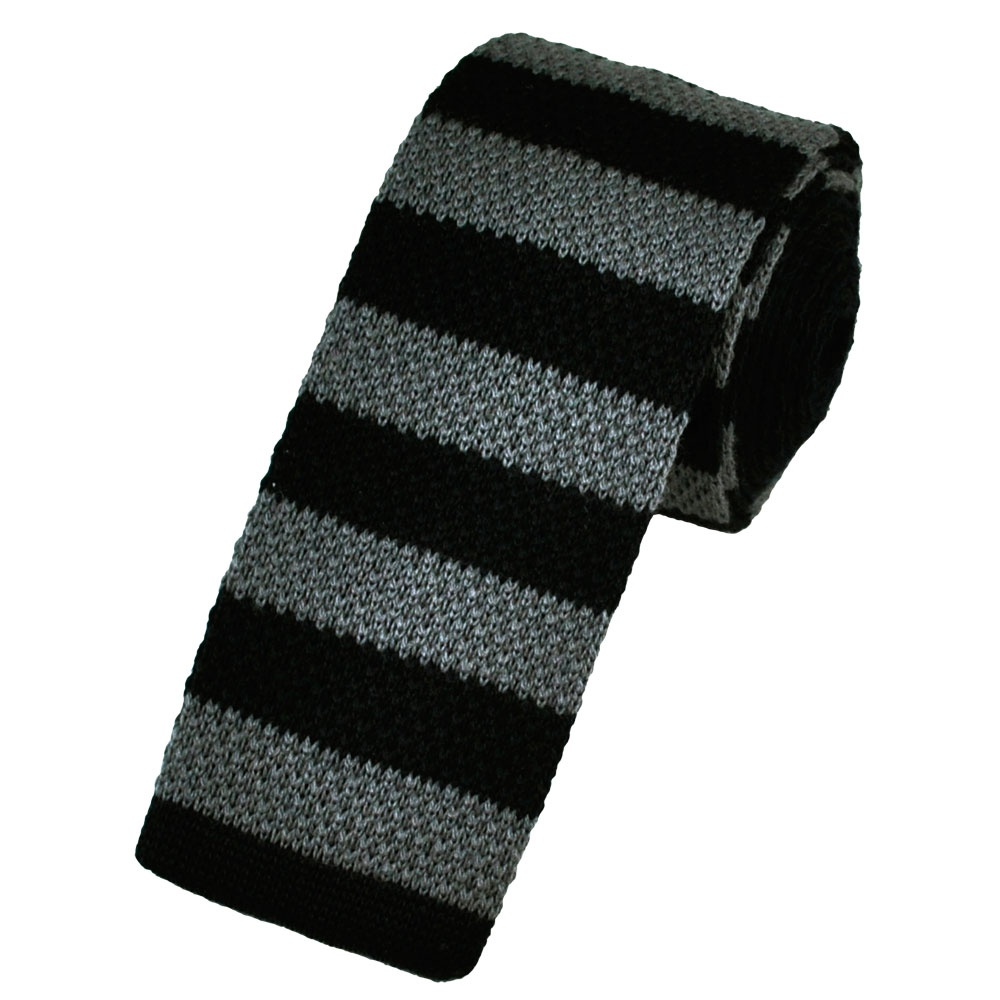 black grey horizontal striped wool knitted narrow tie