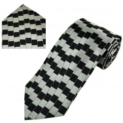 Black & Grey Illusion Pattern Men's Silk Tie & Pocket Square Set
