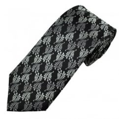 Black & Grey Paisley Patterned Men's Silk Tie