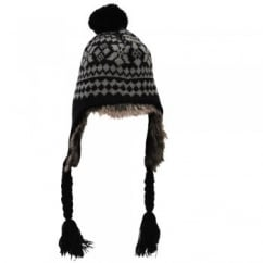 Black & Grey Patterned Peruvian Bobble Hat - Unisex