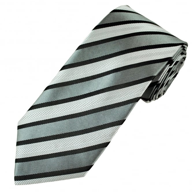 Black, Grey & Silver Striped Patterned Men's Tie