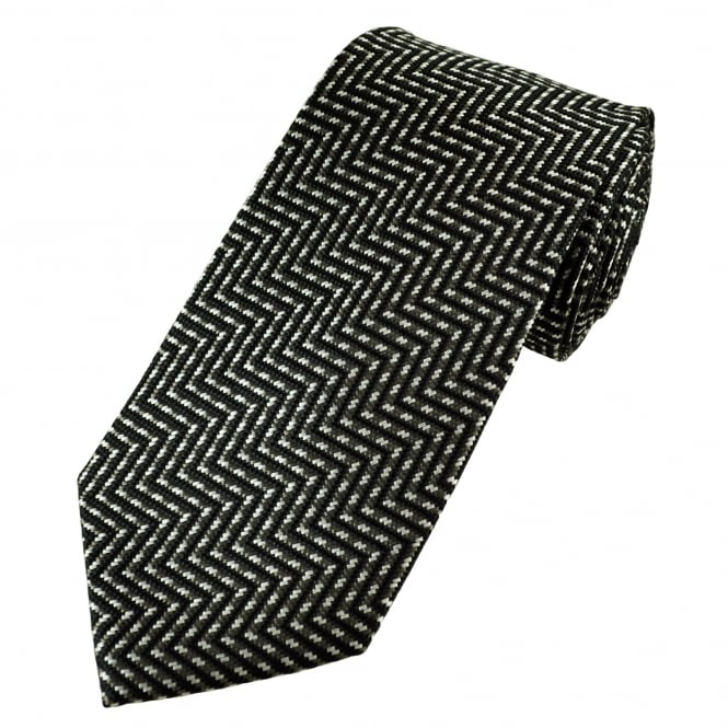 Black, Grey & Silver Zig Zag Patterned Men's Silk Tie