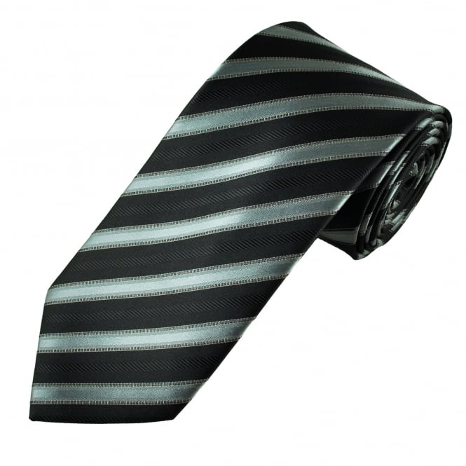 Black & Grey Striped Men's Tie