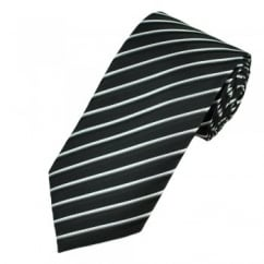 Black, Grey, White & Silver Striped Men's Tie