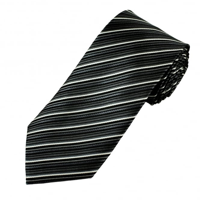 Black, Grey & White Striped Men's Tie