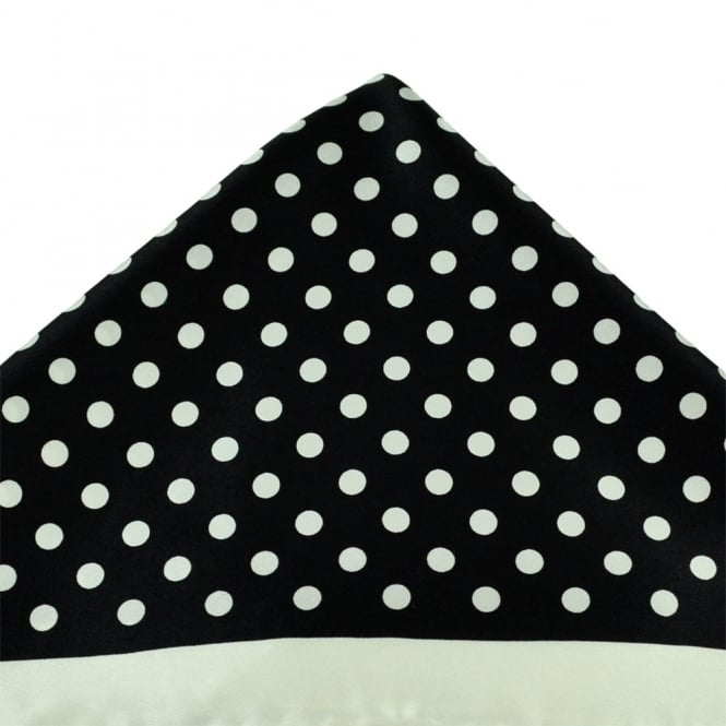 Black & Ivory Dot Patterned Silk Pocket Square Handkerchief