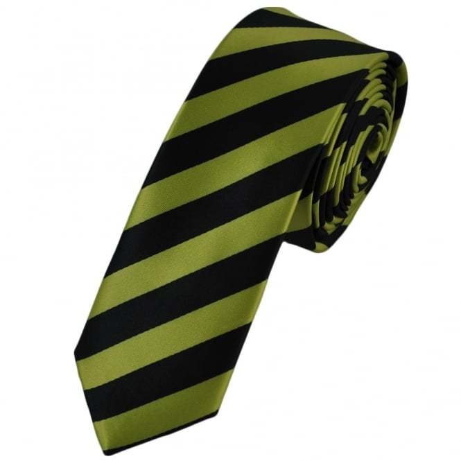 Black & Lime Green Striped Skinny Tie