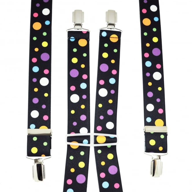 Black & Multi Coloured Circles Patterned Men's Trouser Braces