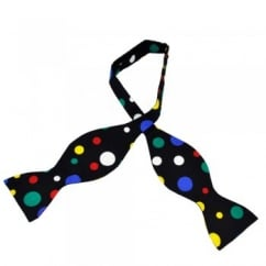 Black & Multi Coloured Dot Self Tie Bow Tie