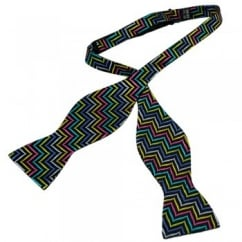 Black & Multi Coloured Patterned Self Tie Silk Bow Tie