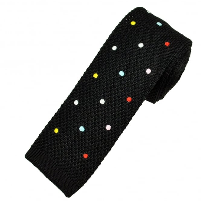 Black & Multi Coloured Polka Dot Men's Silk Knitted Tie