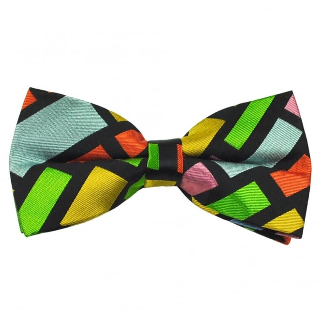 Black & Multi Coloured Square Patterned Silk Bow Tie