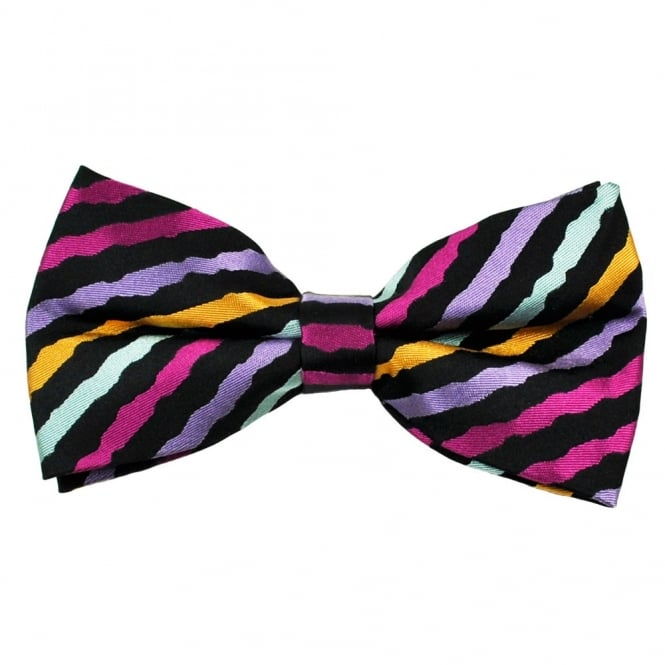 Black & Multi Coloured Wave Patterned Silk Bow Tie
