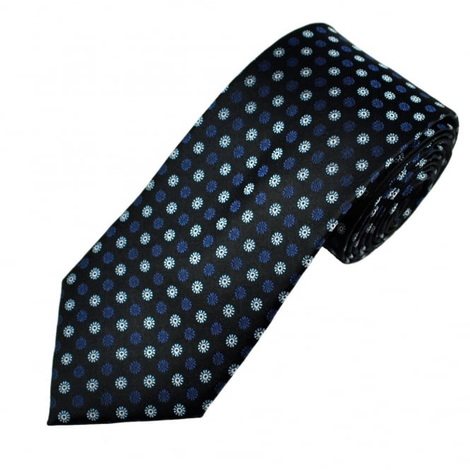 Black, Navy & Blue Flower Patterned Men's Silk Tie