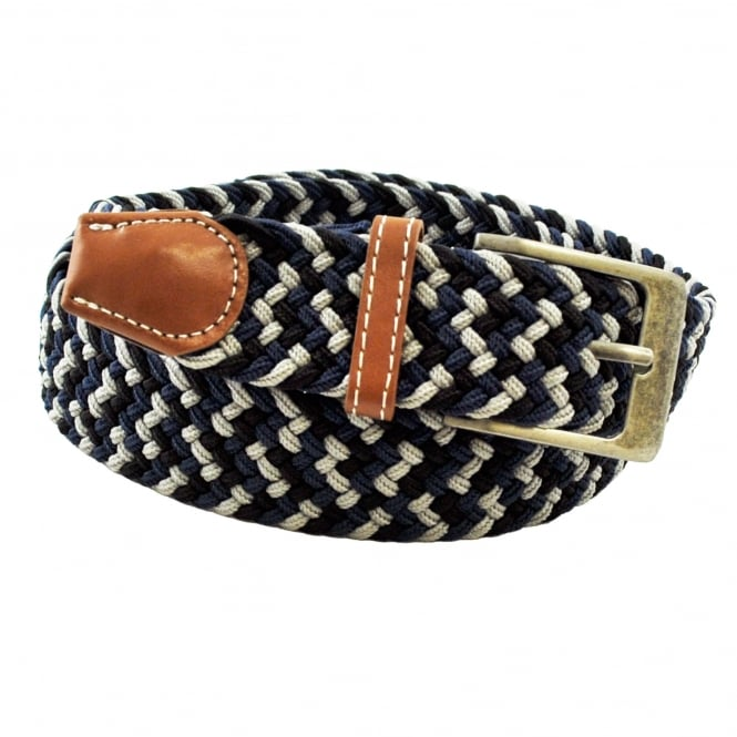 Black, Navy Blue & Grey Patterned Woven Expandaband Belt