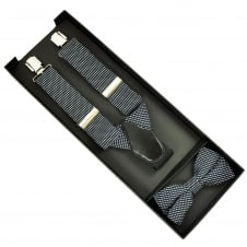 Black, Navy Blue & Silver Square Patterned Men's Silk Bow Tie & Trouser Braces Gift Set