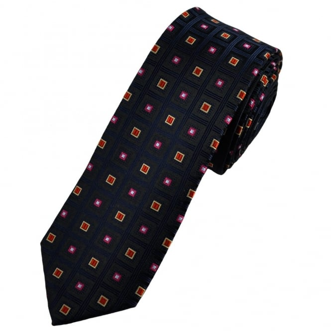 Black, Navy Blue Square Patterned Skinny Tie