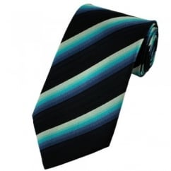 Black, Navy, Blue, Turquoise & Silver Striped Silk Tie