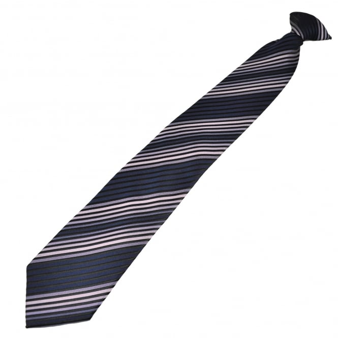 Black, Navy & Lilac Striped Clip On Tie