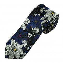 Black, Navy & Silver Flower Patterned Men's Silk Tie
