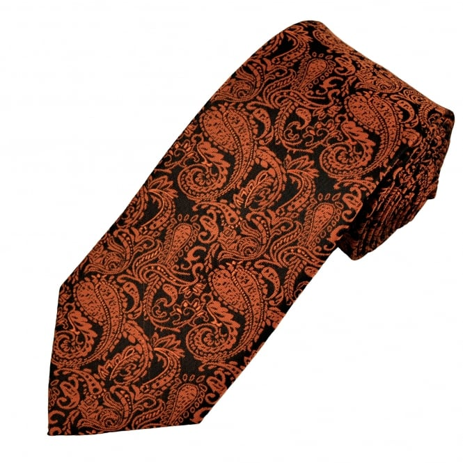 Black & Orange Paisley Men's Extra Long Tie