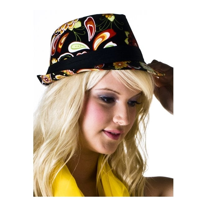 Black, Orange, Red & Green Floral Women's Trilby Hat