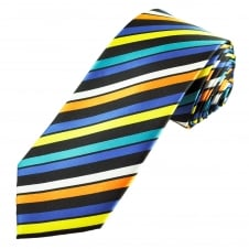 Black, Orange, Royal Blue, Yellow & Turquoise Striped Men's Extra Long Tie