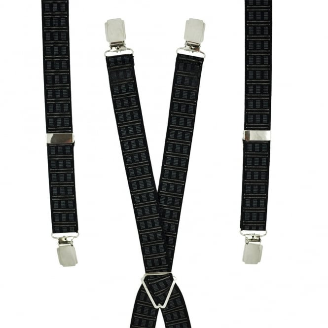 Black Patterned Skinny Trouser Braces
